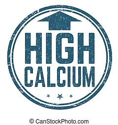 High calcium sign or stamp on white background, vector illustration