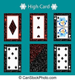 high card playing  poker combination. vector illustration eps 10. On a green background. To use for design, registration, the websites, dressing, the press, etc.