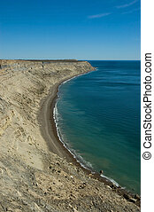 High cliff in the coast of Peninsula Vald�s, Patagonia, Argentina.