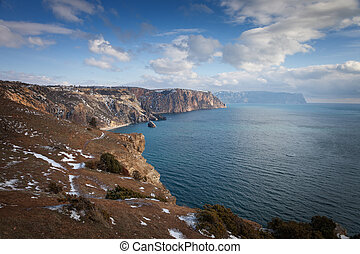High cliffs over the sea under a blue sky with clouds. Fiolent.