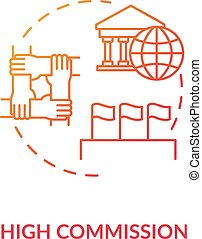 High commission concept icon. Diplomatic mission idea thin ...