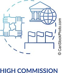 High commission concept icon. Diplomatic mission idea thin line illustration. International partnership. Foreign countries relationship. Vector isolated outline RGB color drawing