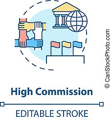 High commission concept icon. Diplomatic mission idea thin line illustration. International partnership. Foreign countries relationship. Vector isolated outline RGB color drawing. Editable stroke