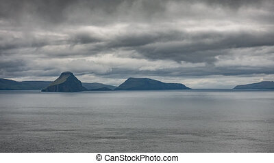 High contrast backlit timelapse of Faroe Islands - Ocean and...