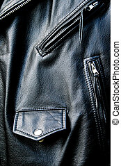 high contrast black leather biker jacket detail