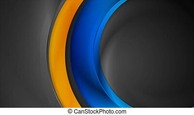 High contrast blue orange abstract circles corporate motion ...