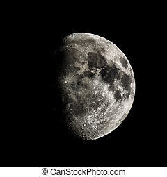 High contrast Waxing gibbous moon - high dynamic range HDR image