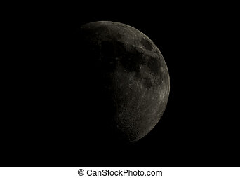 High contrast Gibbous moon over dark black sky seen with a telescope from northern emisphere at night