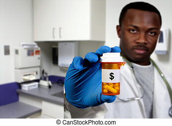 prescription medication pill bottle being held by a blurred black african american doctor