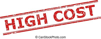 Red HIGH COST seal stamp on a white background. Flat vector scratched seal stamp with HIGH COST message between double parallel lines. Watermark with grunge surface.