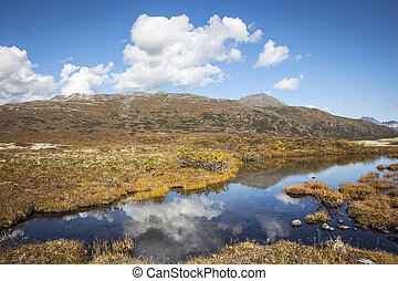 High country cloud reflections - Puffy clouds reflected in a...