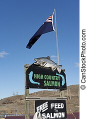 High Country Salmon signage in New Zealand