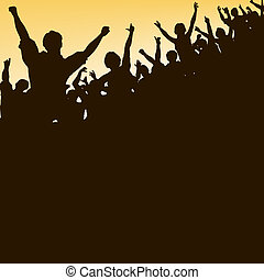 High crowd - Editable vector silhouette looking up at a...