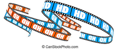 High Definition film - Two 3d film Segment rolled with word...