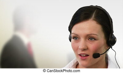 Receptionist talking - High Definition footage of a...