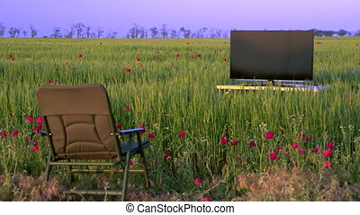 High definition plasma TV in the green field