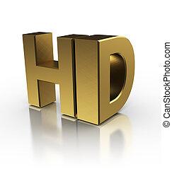 high definition sign - 3d illustration of hd symbol, over...