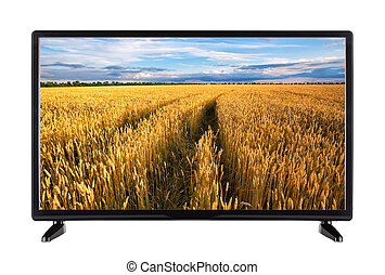 High-definition television with road in wheat ears on screen