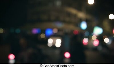 Blurred abstract night lights of city street