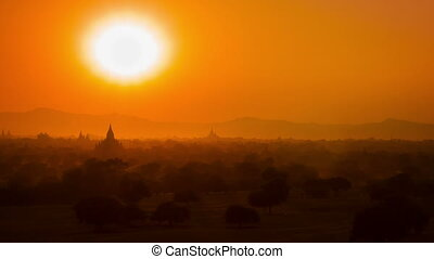 Sunset in Bagan. Myanmar - High definition video - Sunset in...