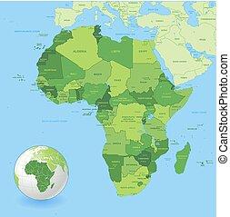 High Detail Green Africa Map