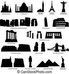 landmarks silhouette set - High Detail landmarks silhouette...