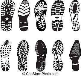 A collection of various highly detailed shoe tracks. Elegant, sporty, formal, mountain boots.