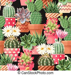 High detail succulent and cactus vector seamless pattern on black background
