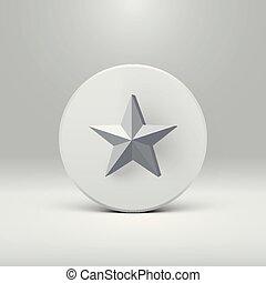 High detailed 3D star on a disc, vector illustration