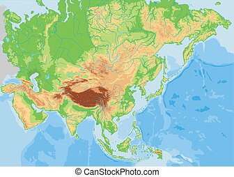 High detailed Asia physical map.