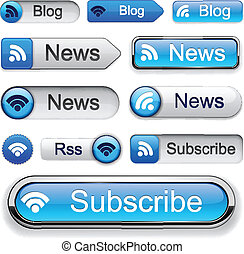 high-detailed, buttons., moderne, rss