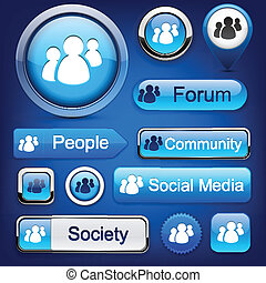 high-detailed, buttons., modernos, fórum