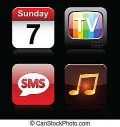 high-detailed, cuadrado, apps, icons.
