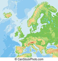 High detailed Europe physical map.