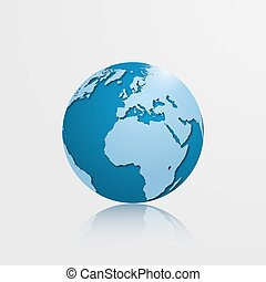 High detailed globe with Europe, Africa and Atlantic ocean. Vector illustration.