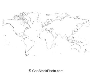 World map with country borders thin white outline on black high detailed outline of world map simple thin black vector stroke on white background gumiabroncs Choice Image