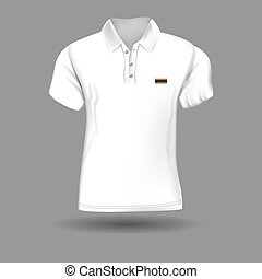 High detailed realistic polo t-shirt for your design. White color. Vector illustration.