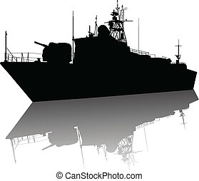 High detailed ship silhouette - Soviet (russian)...