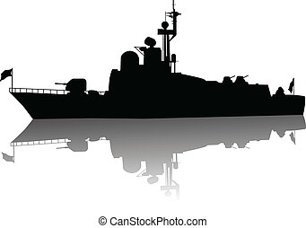 High detailed ship silhouette - Soviet (russian) missile...