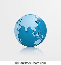 High detailed vector globe with Eurasia and Oceania. Vector illustration.