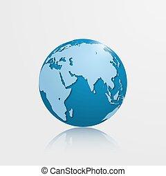 High detailed vector globe with Eurasia, Oceania and Africa. Vector illustration.