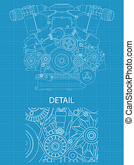 High detailed vector illustration of a V engine - front view