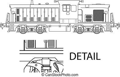 modern locomotive - High detailed vector illustration of ...