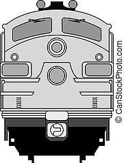 High detailed vector illustration of modern locomotive -front view