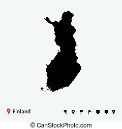 High detailed vector map of Finland with navigation pins.