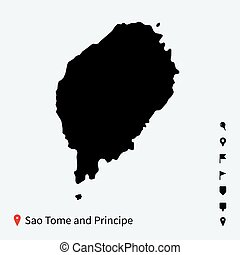 High detailed vector map of Sao Tome and Principe with pins....