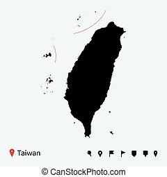 High detailed vector map of Taiwan with navigation pins.
