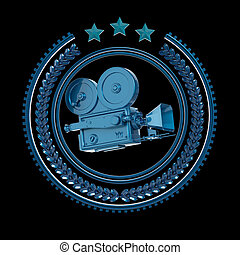 High detailed vintage golden movie cam icon. - High detailed...