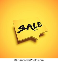 High-detailed yellow speech bubble with 'SALE' title, vector illustration