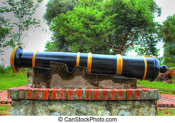 High Dynamic Range-ancient cannon at historic place